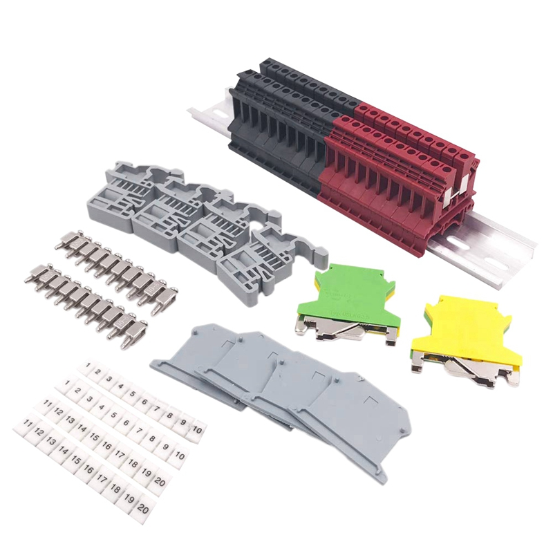 DIN Rail Terminal Blocks Kit Terminal+Ground Blocks+Aluminum Rail+End Brackets+End Covers+Jumpers Kits