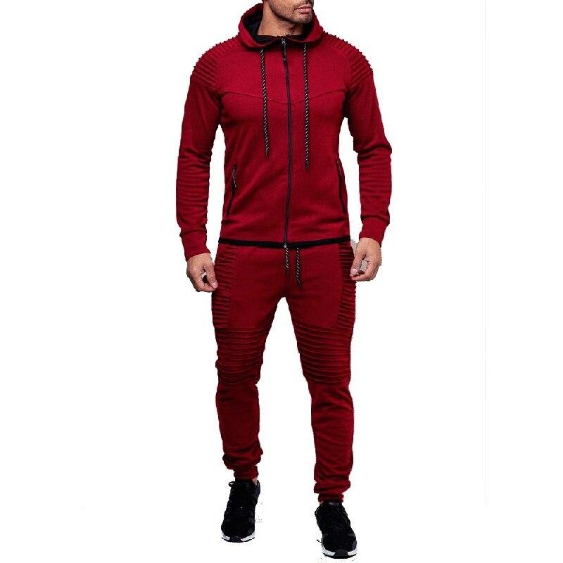 ZOGGA Fashion Jacket Sportswear Men Tracksuit Hoodie Spring Autumn Men Brand Clothes Hoodies+Pants Mens Track Suit Set Hot Sale