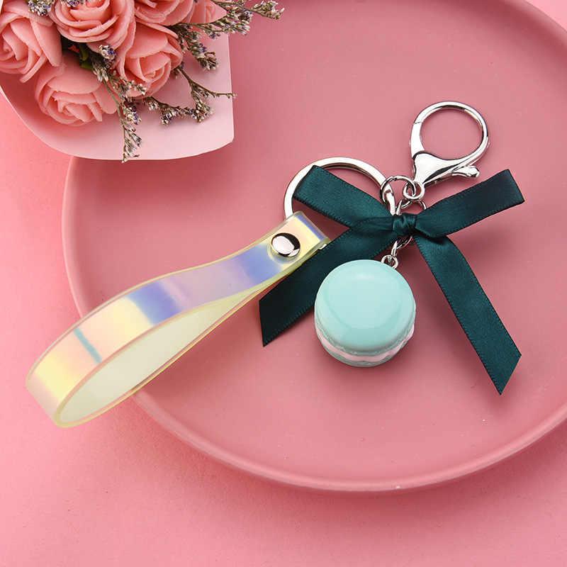 2019 spersonalizowane Macaron ciasto brelok do kluczy piękne Bowknot piękny francuski ciasto Macaron brelok do kluczy s Car Key Ring kobiety torba wisiorek