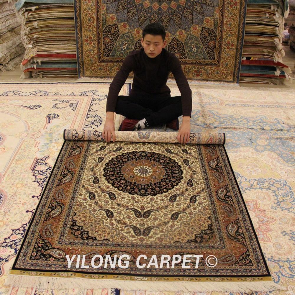 Yilong 4'x6 'fait à la main en ivoire turc floral 100% soie fait main tapis noué à la main (ZQG043A4x6)