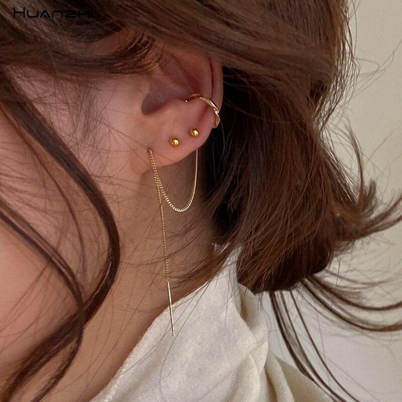 HUANZHI 2020 New Simple Gold Metal Asymmetry Long Tassel No Piercing Ear Cuff Crystal Hook Clip Earrings for Women Jewelry Gift