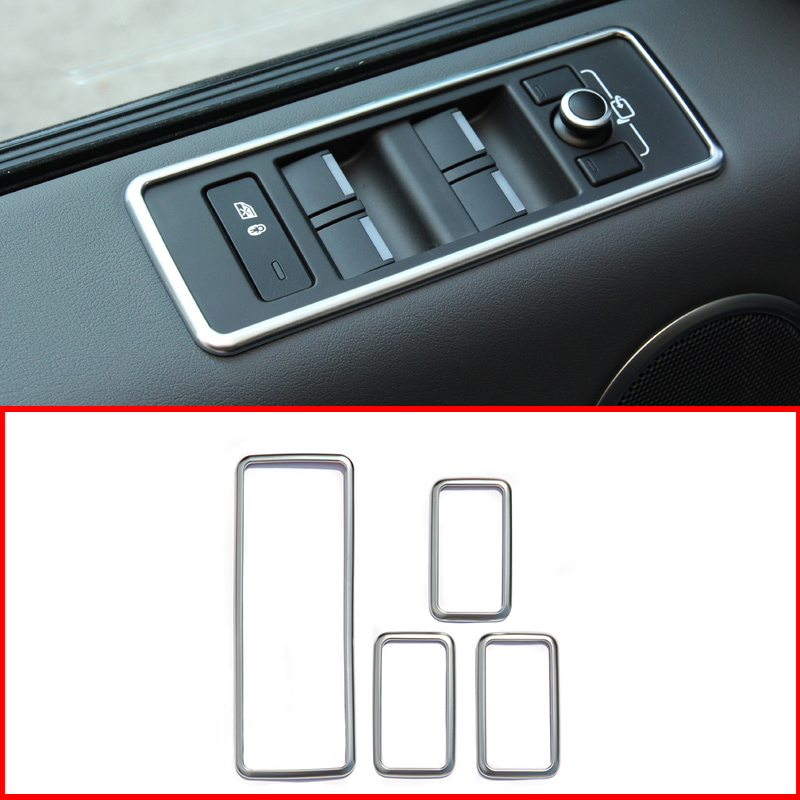For Range Rover Sport 2014 2015 Car Styling Accessories ABS Chrome Interior Door Window Lift Button Cover Trim