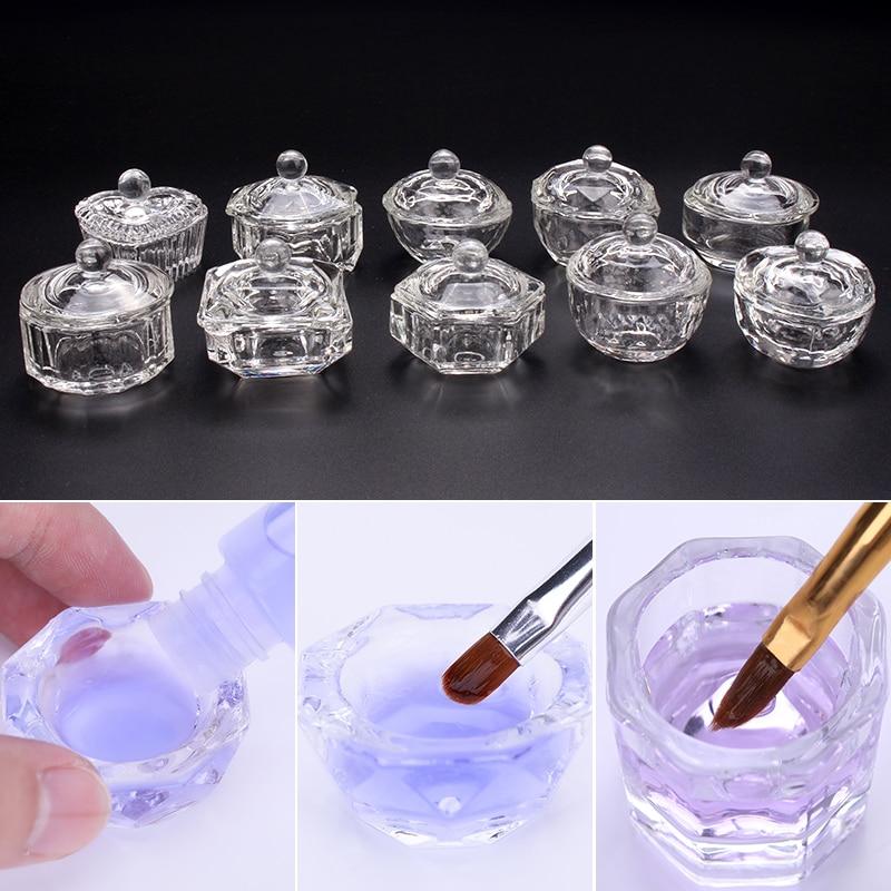 1PC Acrylic Powder Liquid Crystal Glass Acrylic Nail Cup Dappen Dish Lid Bowl Cup Holder  Equipment Nail Tools
