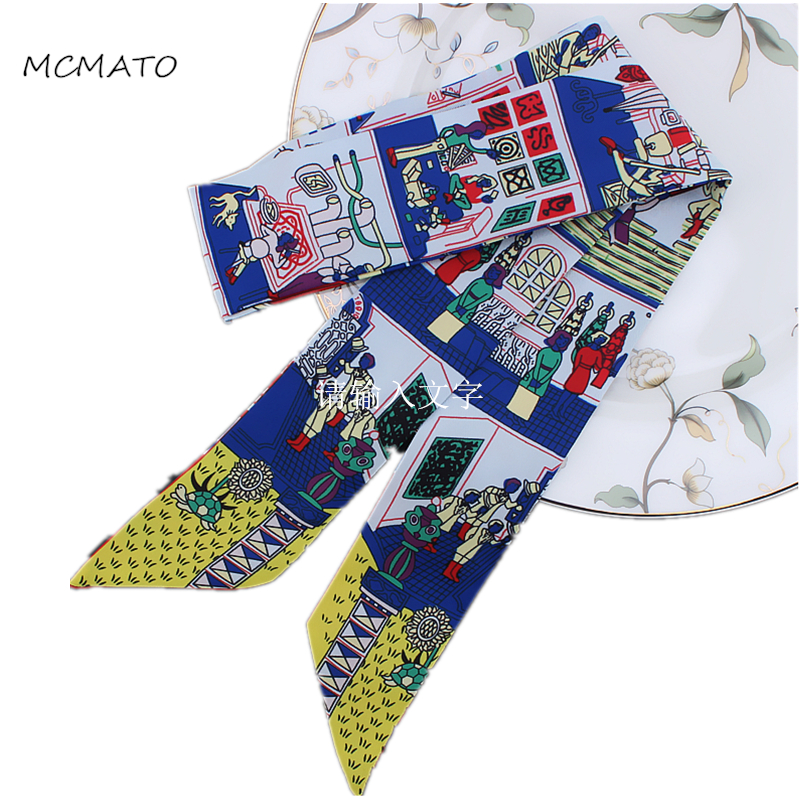 New Style Scarf Paris Family Print Women Silk Scarf Fashion Head Scarf Brand Small Tie Handle Bag Ribbons Small Long Scarves