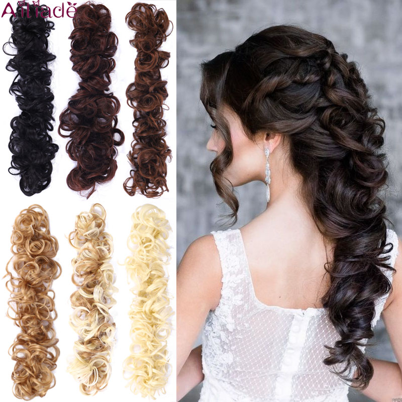 AILIADE Synthetic Chignons Elastic Hair Ribbon Twining Ponytail Bundles Updo Hairpieces Donut For Brides Women Hair Extensions