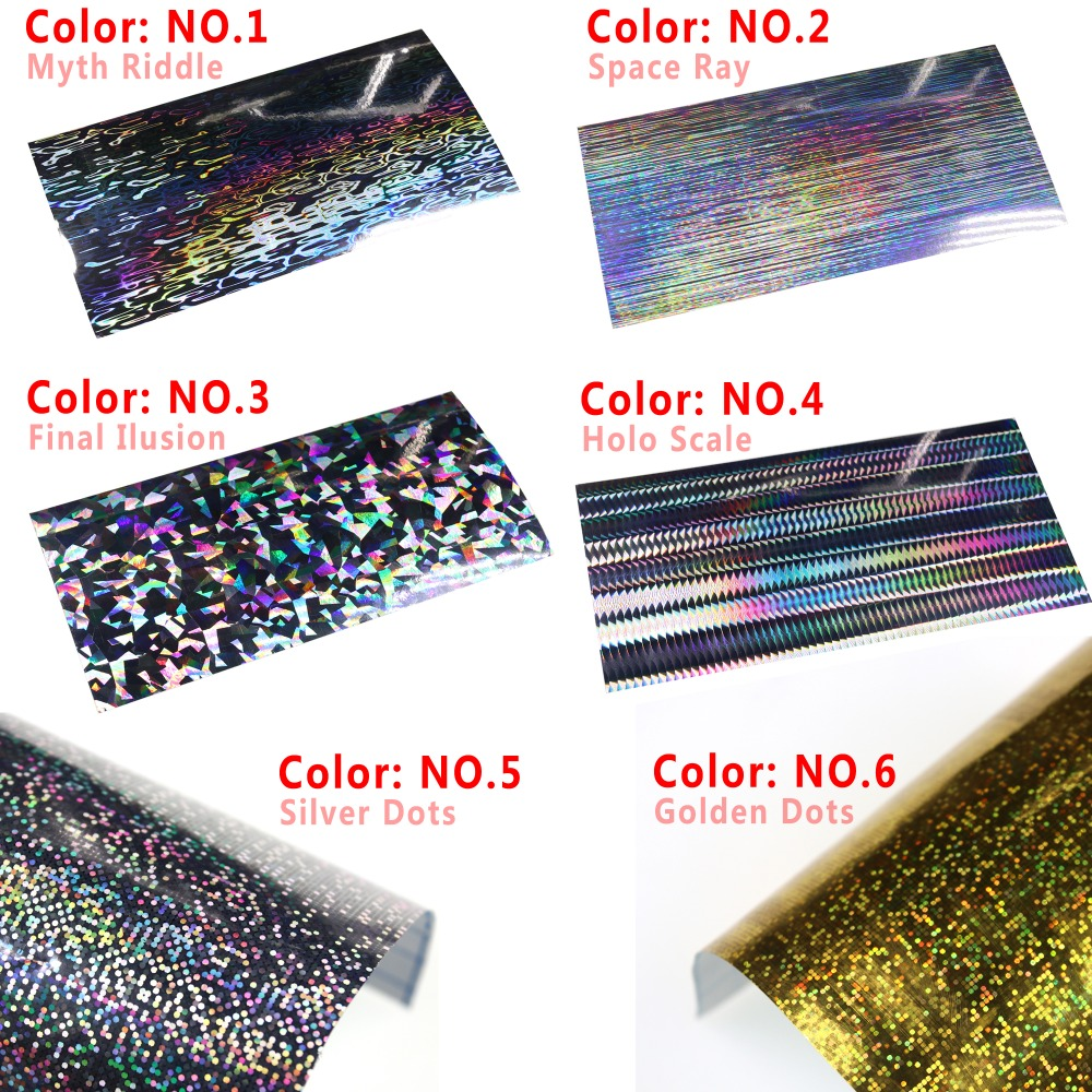 4/6pcs Fishing Hard Bait Sticker Holographic Adhesive Film Flash Type For Saltwater Fishing Lure Making 10X10/10X20cm