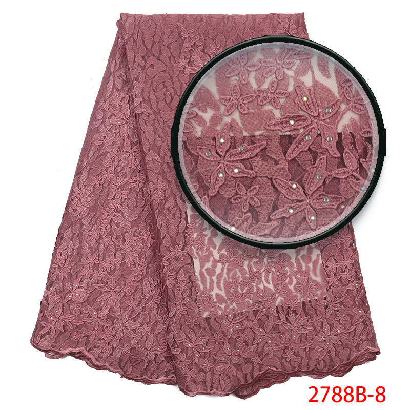 High End African Tulle Lace Fabric,New Technolgy Velvet Laces,French Nigerian Embroidered Fabric Lace With Stones KS2788B-8