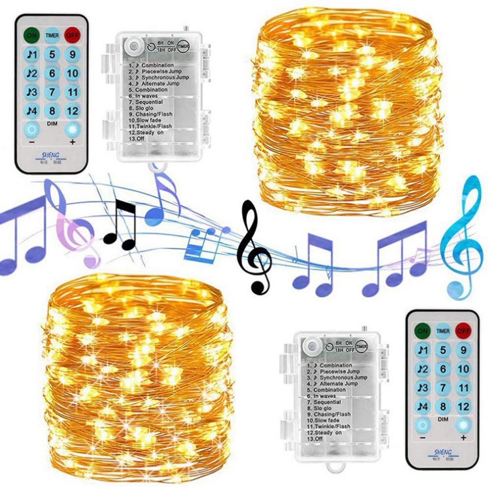 USB Charging Sound Activated  Music String Lights For Party Christmas Wedding