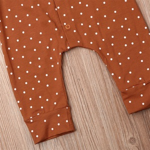Комбинезон в горошек для новорожденных девочек 0 18 месяцев, однобортный комбинезон с длинными рукавами и оборками, одежда для подвижных игр|Ромперы|   | АлиЭкспресс