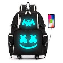Marshmellw DJ sırt çantası aydınlık gençler için sırt çantası öğrenci okul çantaları Usb şarj erkekler kadınlar seyahat Laptop çantaları ördekler