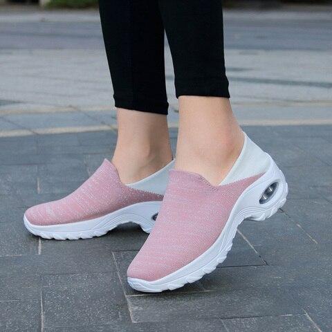 Plataforma de Malha Tênis Feminino Antiderrapante Malha Calçado Vulcanizado Confortável Casual