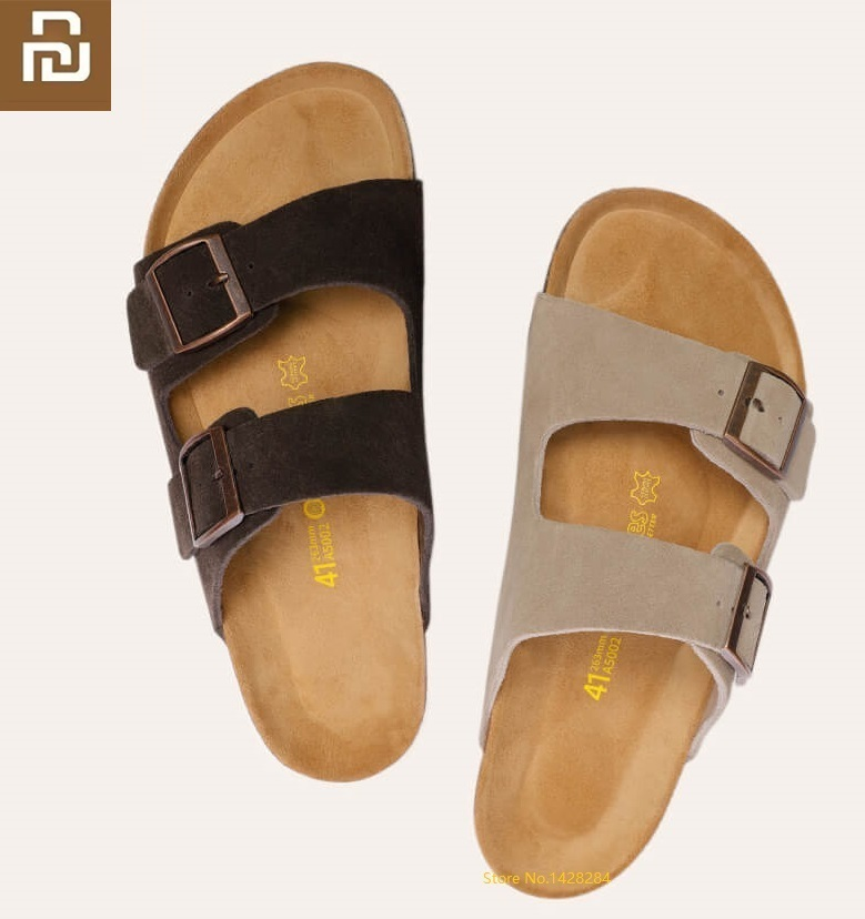 Youpin NEW Youpin Aishoes Men Summer Fashion Wild Cool Cork Sandals  Soft Cowhide Beach Ssandals Casual Non-slip Cork Slippers