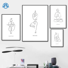 Minimalism Lady Body Line Drawing Art Canvas Painting Yoga Women Abstract Posters and Prints Modern Home Wall Art Decoration