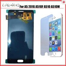 لسامسونج غالاكسي A5 2016 A510 A510F A510FD A5100 شاشة الكريستال السائل مع مجموعة المحولات الرقمية لشاشة تعمل بلمس ضبط سطوع LCD