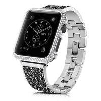 Correa de Metal con cierre de diamante de lujo para Apple Watch SE, Serie de gomillas 6, 5, 4, 3, mujer, pulsera para iWatch de 40mm, 44mm, 38mm y 42mm