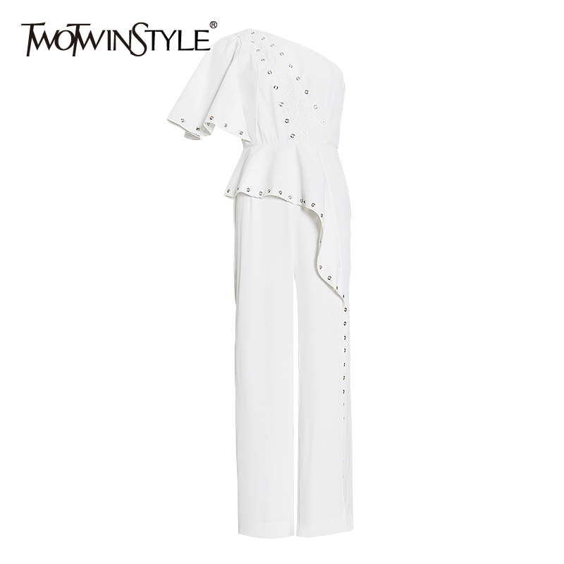 TWOTWINSTYLE Patchwork Ruffle Asymmetrical One Shoulder Jumpsuit For Women High Waist Loose Split Jumpsuits Female 2020 New
