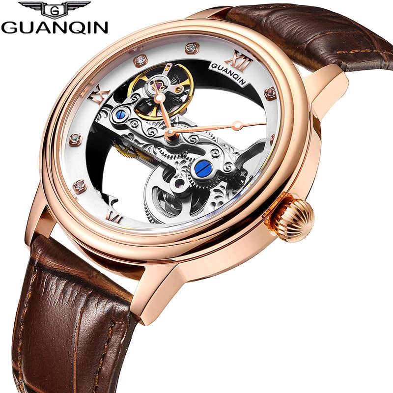 GUANQINใหม่นาฬิกาส่องสว่างTourbillon Skeletonอัตโนมัติผู้ชายนาฬิกานาฬิกาผู้ชายกันน้ำGold Relogio Masculino