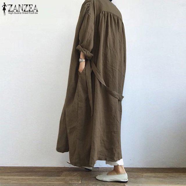 ZANZEA Vintage Solid Lace Up Shirt Fashion Women Long Cardigan Autumn Long Sleeve Open Front Blouse Loose Tunic Top Kimono