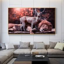 Dócil leão e cervos quadros em tela arte da parede moderno animais posters e impressões cuadros imagem para sala de estar decoração