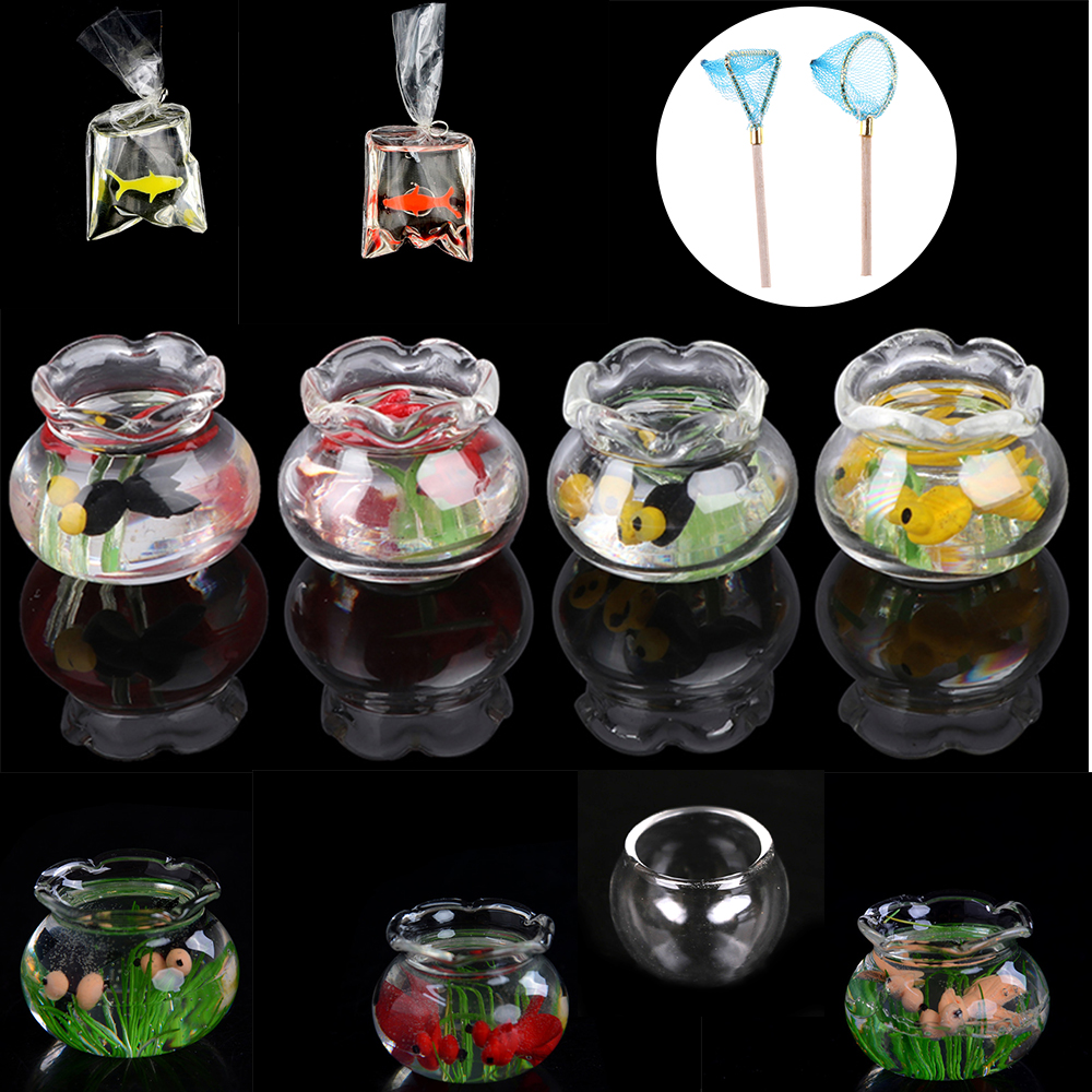 1PCS 1:12 Pet A Glass Bowl For Fish Tank Pole Nets Dollhouse Miniature 1/12 Doll House Decor Accessories