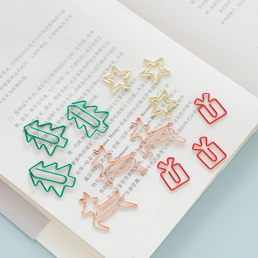 2020 New 24pcs/lot Kawaii Christmas Tree Star Deer Paper Clip Metal Bookmark Decorative File Clips Gift Box School Stationery