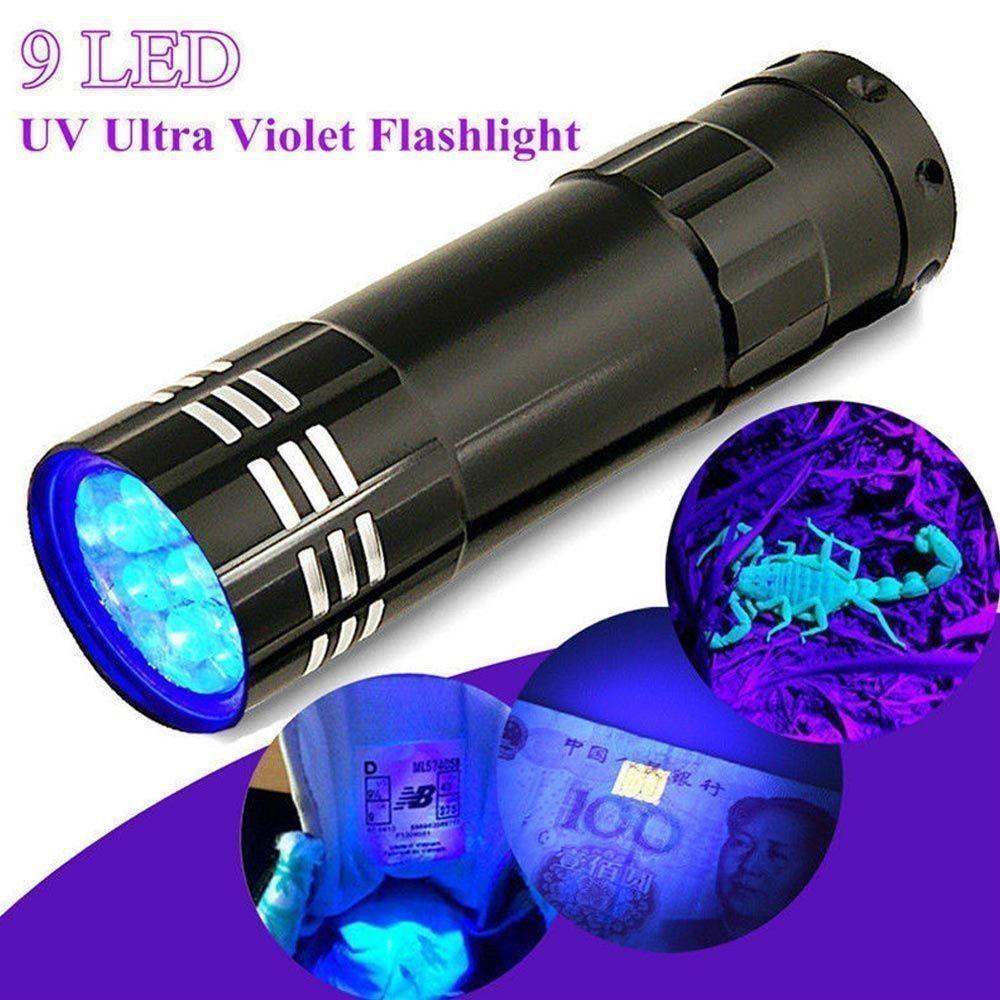 Cash Checker UV Ultra Viola Torcia 9 LED Torcia Multifunzione Mini di Alluminio Della Lampada Della Luce Con La Corda Negozio di Attrezzature Essenziali