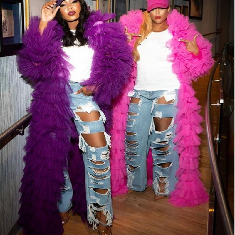 Hot Sale Tulle Jacket Women Puffy Tiered Tulle Long Sleeve Jackets 2020 Chic Robes Party Gown Wear Clothes Plus Size Custom Made