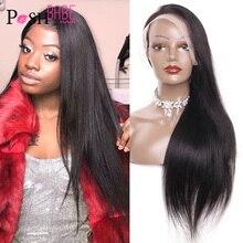 Синтетические волосы на кружеве парики из натуральных волос 8 - 28 дюймов 150% Плотность 13x4 бразильские прямая шнуровка, парики для чернокожих ...