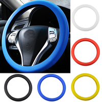 Leather Texture Car Auto Silicone Steering Wheel Glove Cover Soft Multi Color Universal Skin Soft Silicon Steering Wheel Cover|Steering Covers| |  -