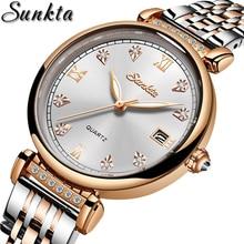 SUNKTA New Rose Gold Women Watch Business Quartz