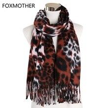FOXMOTHER New Winter Foulard Femme Wrap Hijab Shawl Leopard Cashmere Scarf Women Triangle Tassel Scarves Ladies 2019 Echarpe