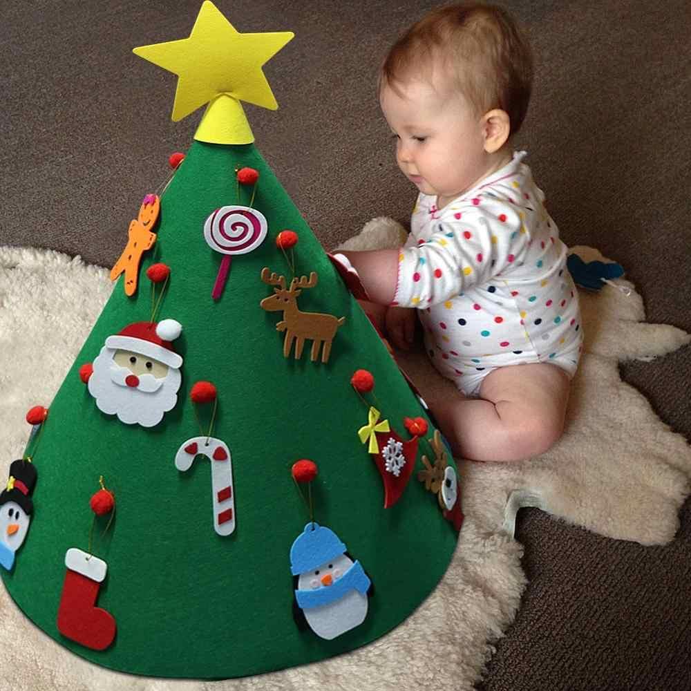 OurWarm DIY фетровая Рождественская елка для малышей с подвесными орнаментами детские новогодние подарки рождественские украшения для рождественской вечеринки