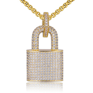 Image 1 - Micro Paved Crystal Lock Pendant Necklace Women/Men Gold Color Fine Jewelry Hiphop Top Quality CZ Christmas Gift
