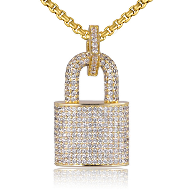 Micro Paved Crystal Lock Pendant Necklace Women/Men Gold Color Fine Jewelry Hiphop Top Quality CZ Christmas Gift