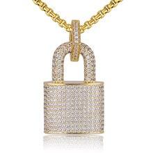 Micro pavimentado cristal bloqueio pingente colar feminino/masculino cor do ouro jóias finas hiphop qualidade superior cz presente de natal