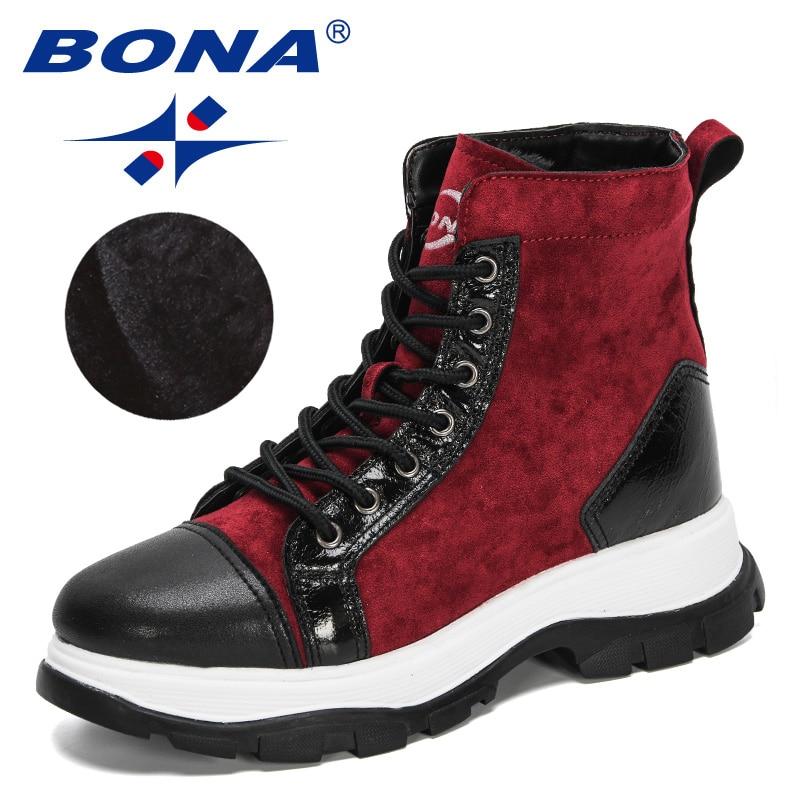 BONA 2020 New Designers Chunky Heels Ankle Boots Women Flock High Top Winter Boots Ladies Plush Warm Snow Footwear Feminimo