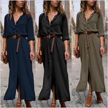 Womens Maxi Shirt Dresses Maxi Long Sleeve Solid Color Button Spring Autumn Casual Vacation Loose For Ladies Boho With Belts