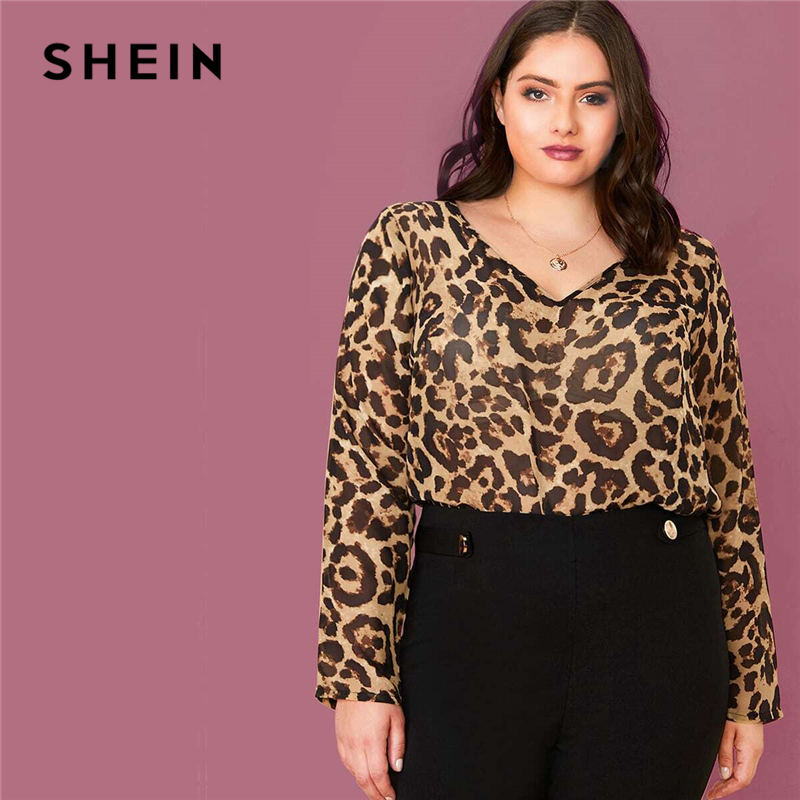 SHEIN Plus Size Multicolor Leopard Semi Sheer Top Chiffon Blouse Women Spring Summer V-neck Office Lady Casual Blouses