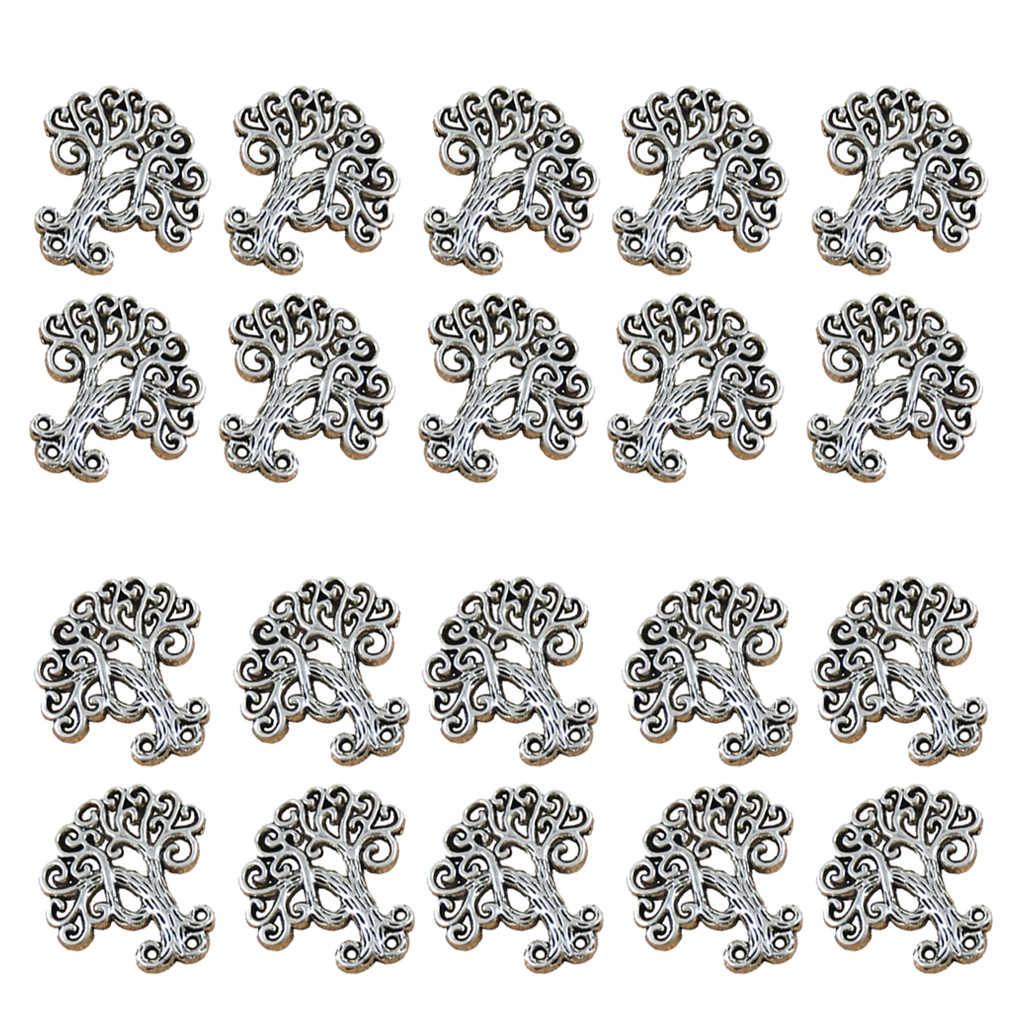 20 piezas de aleación de Zinc árbol diseño encanto antiguo plata encanto DIY COLLAR COLGANTE