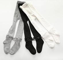 Girls Lace Pantyhose Korean Version of Boneless Thin Vertical White Dance Leggings Baby Princess Skirt