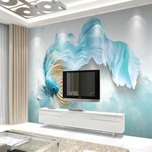 Custom wall mural 3d swimming fish home decor wallpaper