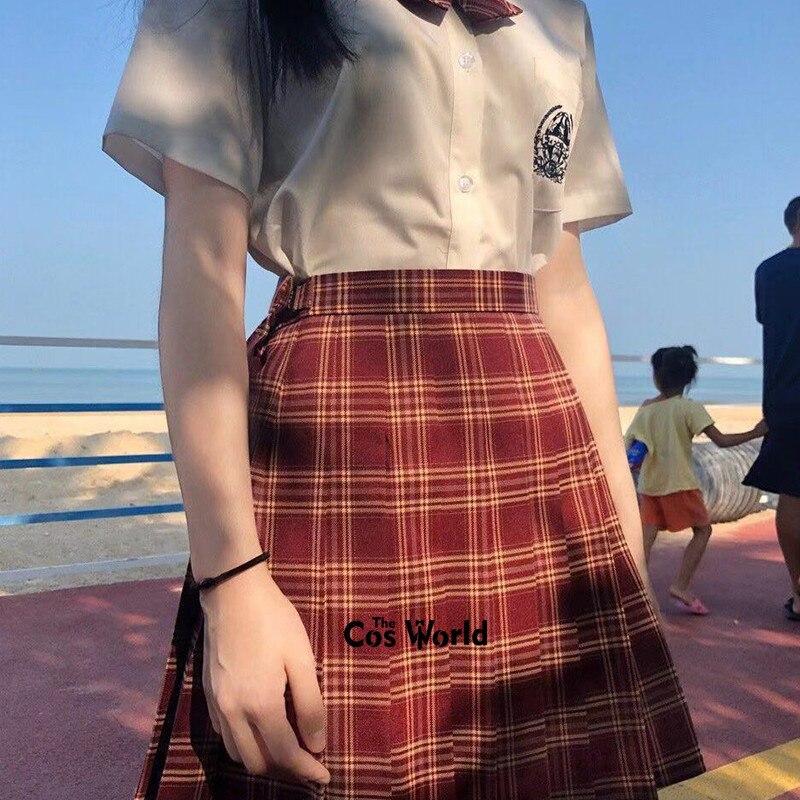[Amaranth Red] Girl's Summer High Waist Pleated Skirts Plaid Skirts Women Dress For JK School Uniform Students Cloths