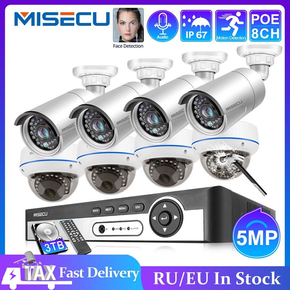 MISECU 8CH 5MP HD POE NVR Kit CCTV System Audio IP Camera IR Cut Outdoor Indoor P2P Video Security Surveillance Set 3TB HDD