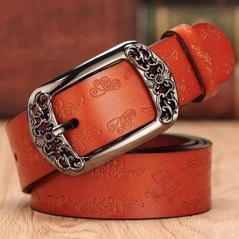 Cinturón דה cuero ג 'נואינו אנצ' ו la moda para mujer cinturones דה piel דה וקה tallados florales para ג 'ינס דה alta calidad par