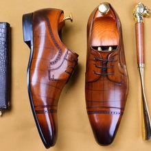 2019 Handmade Luxury Italian Brand Mens Oxford Shoes Wedding Party Dress Designer Male Genuine Leather Formal