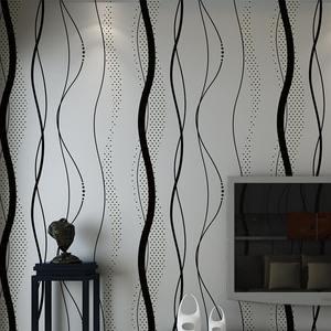 Image 1 - 3D Nicht woven Kurve Streifen Tapete Rolle Wohnkultur Wohnzimmer Schlafzimmer Wand Beläge Silber Floral Luxus Wand Papier