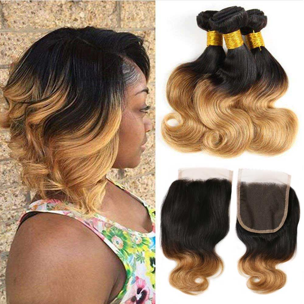 Ombre Brazilian Body Wave Bundles With Closure Honey Blonde Ombre Bundles With Closure Remy Human Hair 3 Bundles With Closure