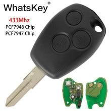 WhatsKey 433 МГц чип 2 кнопки дистанционного ключа автомобиля для Renault Espace Clio Kangoo Logan Sandero Duster PCF7946/PCF7947