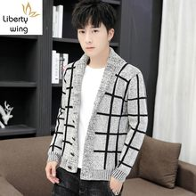 Kotak-kotak Kasual Pria Pakaian Luar Musim Gugur Musim Dingin Sweter Cardigan High Street Slim Fit Single Breasted Merajut Mantel Pendek(China)