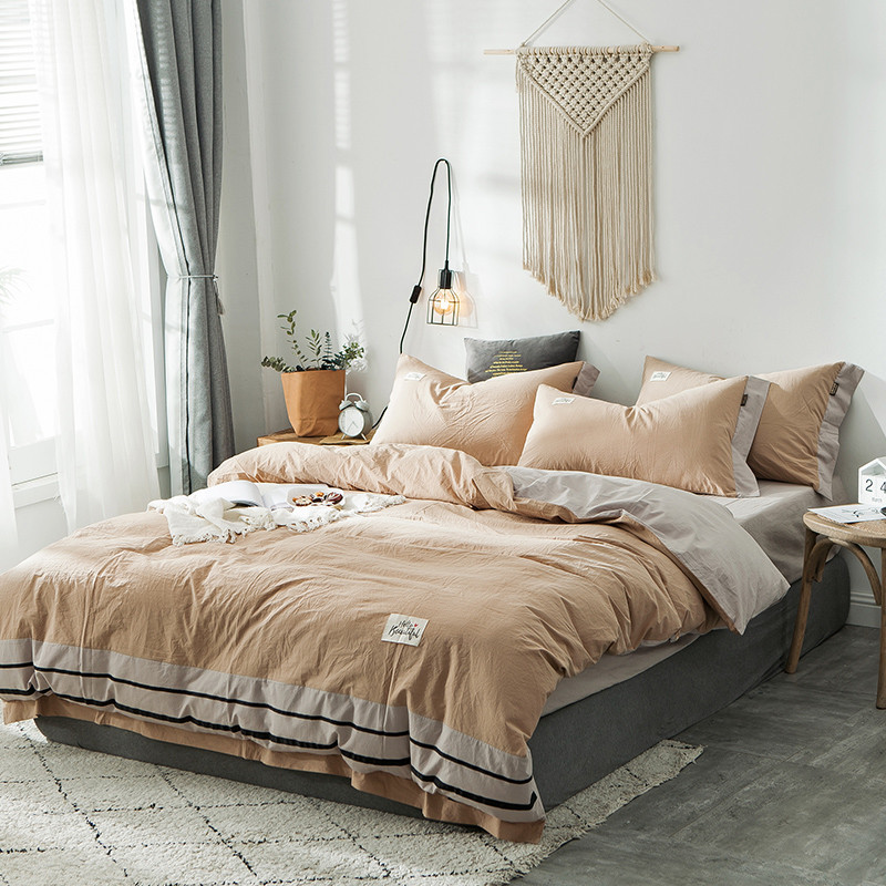 Pure Cotton Modern Style 3 4pcs Duvet Cover Flat Fitted Bed Sheet Pillowcases Bed Set Solid Khaki Brown Pink Blue Green Bedding Sets Aliexpress